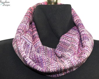 Handwoven Cowls in Cotton and Tencel Crackle Weave Double Walled
