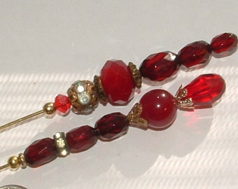 """my own HATPIN designs- brilliant vintage 1920s CHERRY AMBER - beads with  cut crystals 8"""""""