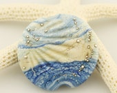 SRA Lampwork Glass Bead, Organic Etched Focal Lentil -  Blue Ivory   'Chambray'