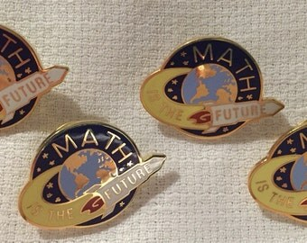 "School supplies Math is the FUTURE pin back 1 1/4"" x 3/4"" metal world globe graphic hat pin learning appreciation numbers math"