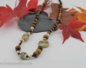 Brown tones necklace - glass flamework beads, tigereye beads, striped onyx, black onyx, gemstone necklace, handmade clasp, neutral tones,