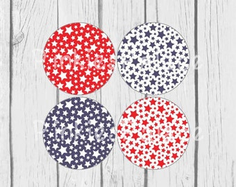 Americana Stickers Envelope Seals Red White Blue Star Stickers  - set of 24 SES315