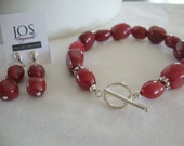 FREE SHIPPING Red Jade and Sterling Silver Bracelet Earring Set