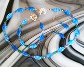 Italian Millifiori Glass and Crystal Beaded Necklace Bracelet Earrings