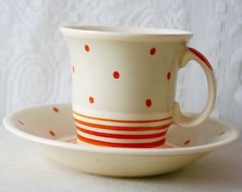 Vintage Susie Cooper Demitasse Cup 1930s Polka Dots and Rings