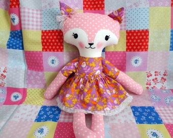Foxy girl doll, soft toy, eco friendly toy, baby gift, birthdays, handmade Ready to ship