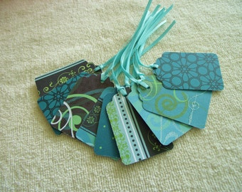 25 Teal Ribboned Patterned Tags Glitter Accents - Free Secondary Shipping