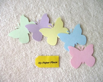 100  Butterfly Die Cuts- 2 inch cardstock-  Pastel Assorted Colors-Free Secondary Shipping