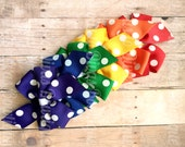 Rainbow 6pc Collection, Partially Lined Clips, Small Pinwheel Hairbows, Dollar Bows, Bow Clips, Hair Bows, Little Girl Bows, Baby Bows