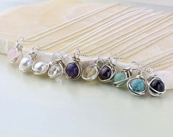 Bridesmaid Necklace Set of 4, Gemstone Pendant and Sterling Silver, Wedding Jewelry, Bridesmaid Gift- Chain and Gemstone Choice