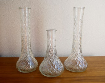 Vintage Vases // Set of 3 // Clear, Mismatched, Tall & Short Glass Vases with Cage Pattern // Wedding Decor // Bridal Decor // Home Decor