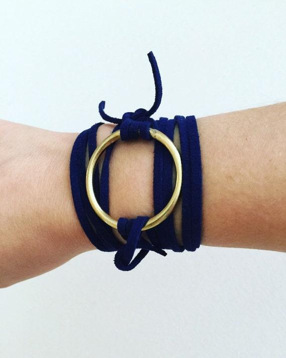 Valentina Navy Suede & Gold Wrap Bracelet