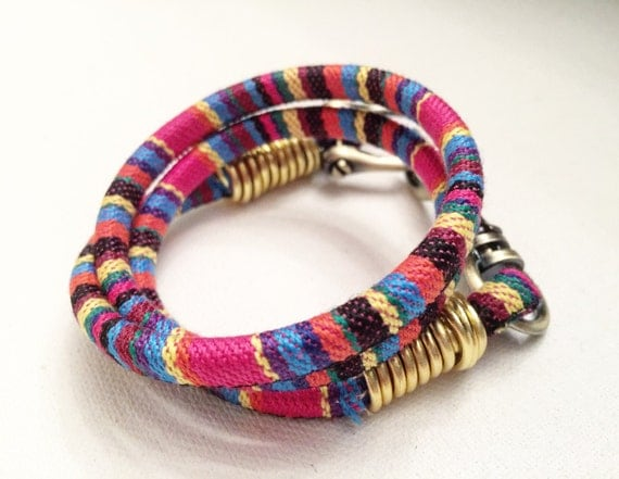 Multi Colored Cotton & Gold Wrap Bracelet