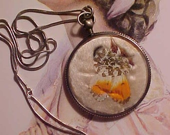 Vintage EDWARDIAN STERLING Encased real Butterfly Necklace Glass Curves Pocket Watch Style& Sterling Chain
