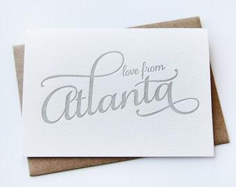 Letterpress Greeting card - Regional Love from Atlanta