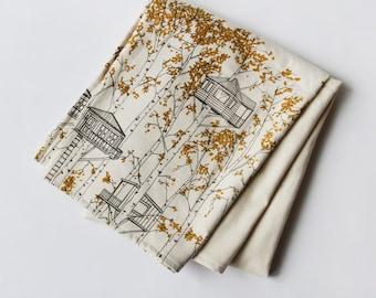 Organic Cotton Blanket - Yellow/Orange Tree Houses