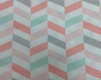 Broken Chevrons - Mint Pink Grey - Custom Crib Sheet
