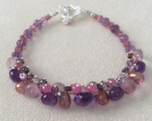 Pink Sapphire and Moss Amethyst Gemstone Bracelet in Sterling Silver with Mystic Pink Topaz, Mystic Pink Quartz, Amethyst and Spinel