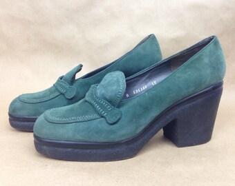VTG 90s Charles Jourdan Suede Platform Chunky Heeled Leather Loafer 7.5 Womens