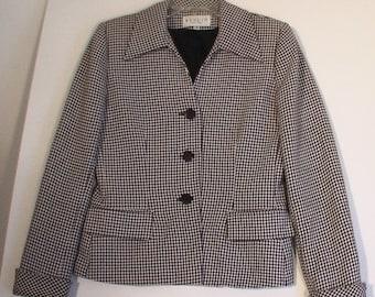SALE Checkered Women's Blazer jacket coat suit optical op-art 80s size 4 vintage 60s mod