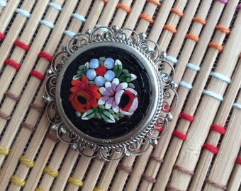 Micro Mosaic Floral Brooch