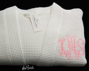 Monogram Bathrobe, Wedding day Robe, Anniversary gift for wife, Cotton Anniversary gift for her, 2nd Anniversary for her, jfyBride