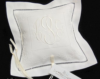 Monogram Wedding Pillow, Ring Bearer Pillow, Embroidered Wedding Ring Pillow, White Bridal Ring Pillow, jfyBride, Style 7962