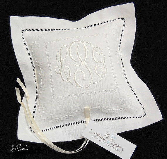 Monogram Wedding Ring Bearer Pillow: Monogram Wedding Pillow Ring Bearer Pillow Embroidered
