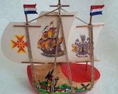 Holland souvenir - Dutch ship miniature - Netherlands sailing boat clog wood - Vintage