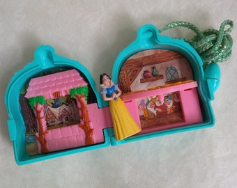 Vintage snow white tiny miniature doll and blue house toy