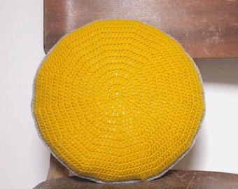 Crocheted Golden Yellow Round Cushion