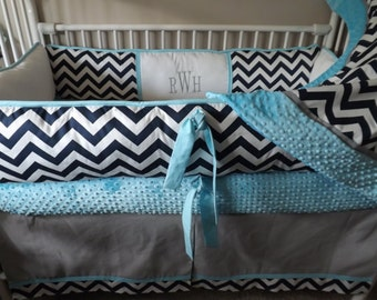 Turquoise baby crib fitted sheet minky dot only