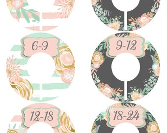 6 Precut Baby Closet Dividers, Baby Shower Gift, Floral, Pink, Mint Nursery Decor Clothing Baby Clothes