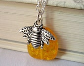 bee necklace, amber necklace, silver bee jewelry