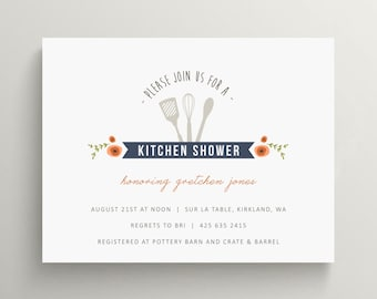 kitchen bridal shower invitation set  //  birthday invitation // engagement party // stock the kitchen