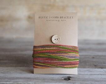 DIY - Knitting Kit - Craft Kit - Rustic I Cord Bracelet - Knitting Pattern - Wood Button - Wool Yarn - Hand Dyed Yarn - Mini Skein - DIY kit