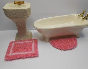 dollhouse miniature plush rug petal pink set