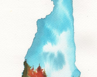New Hampshire, print from watercolor illustration by Jessica Durrant from Painting the 50 States Project.