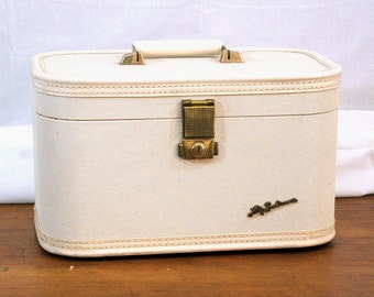 Vintage Lady Baltimore Train Case, Ivory 1950s