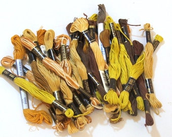 Embroidery Floss Lot of 30 Skeins, Browns, Tans