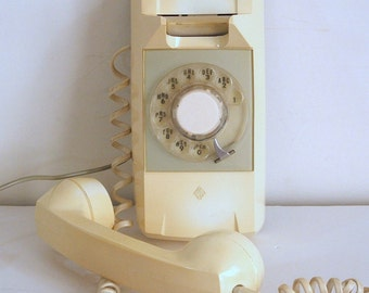 Rotary Dial Telephone, Vintage Tan Wall Phone by Automatic Electric Company
