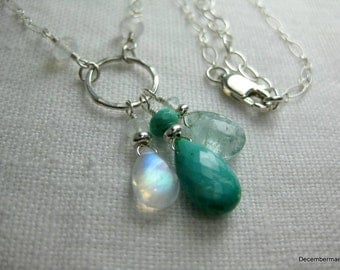 Sleeping Beauty Turquoise, Rainbow Moonstone and Aquamarine Necklace in Sterling Silver