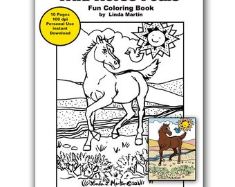 Ready to Print and Color Wild Horse Foals Coloring Book LLMartin Instant Dowload Adults and Children