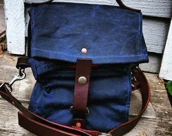 Navy Blue Waxed Canvas, Cordura, and Leather Reusable Insulated Lunch Bag with Adjustable Leather Shoulder Strap