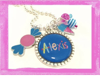 Personalized Girls Bezel Necklace - SO SWEET - Personalized Necklace for your little one
