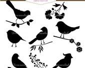 ON SALE birds clipart, Black birds clipart, silhouette birds clipart, birds collection ,Instant download