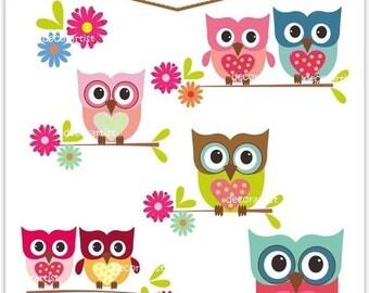 Owl Clipart - INSTANT Download Digital Clipart Owls, Love Owls
