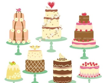 ON SALE cake clip art, Digital clip art, celebrated cakes clip art, vanilla cake, INSTANT Download