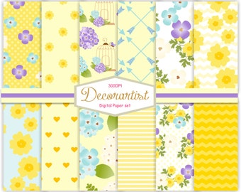 """ON SALE yellow floral Digital Paper , no.107- scrapbooking digital paper 12x12"""", yellow flower digital paper pattern, instant download"""