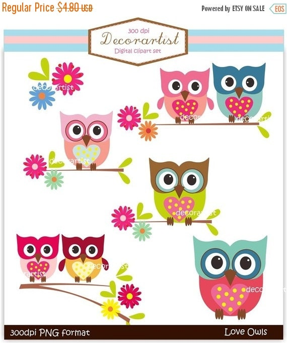 ON SALE owl clipart, INSTANT Download Digital clipart owls, love owls